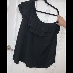 Black Ruffle one shoulder blouse